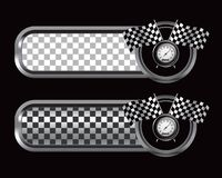 Racing flags and speedometer on checkered tabs Stock Photos