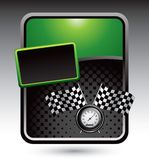 Racing flags and speedometer on green advertisemen Royalty Free Stock Photos