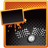 Racing flags and speedometer on halftone ad Stock Photo