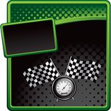 Racing flags and speedometer on halftone banner. Checkered racing flags and speedometer on green and black halftone banner Royalty Free Stock Images