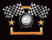 Racing flags and speedometer in orange star frame royalty free illustration