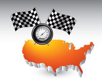 Racing flags and speedometer over united states Stock Photo