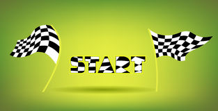 Racing Flags And Start Title. Background with classic black and white waving checkered racing flags and same style letters. Start word title. Squared capital Stock Photo