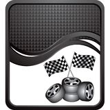 Racing flags and tires on black checkered wave ad Royalty Free Stock Photos