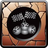 Racing flags and tires on cracked bronze web icon Royalty Free Stock Images