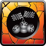 Racing flags and tires on gold cracked web icon Stock Photo