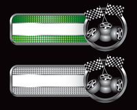 Racing flags and tires on specialized banners. Green and silver checkered tabs with racing checkered flags and tires Royalty Free Stock Photo