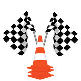 Racing flags and traffiic cones Royalty Free Stock Photos
