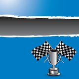 Racing flags and trophy on blue ripped banner Stock Photography
