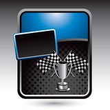 Racing flags and trophy on blue stylized ad Stock Photography