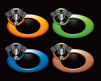 Racing flags and trophy in colored rings Stock Image