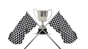 Racing flags with a trophy