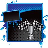 Racing flags and trophy on halftone grungy banner Royalty Free Stock Images