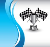 Racing flags and trophy on vertical blue wave Stock Photography