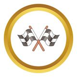 Racing flags vector icon. In golden circle, cartoon style isolated on white background Stock Photography
