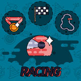 Racing flat concept icons. Vector illustration, EPS 10 Stock Image