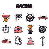 Racing flat concept icons Royalty Free Stock Images