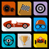 Racing flat icons Stock Photo