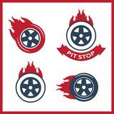 Racing flat labels set. Blaze and flash logo. Auto transport Stock Photography