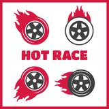 Racing flat labels set. Blaze and flash logo Stock Images