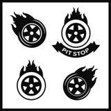 Racing flat labels set. Blaze and flash logo. Auto transport Stock Image