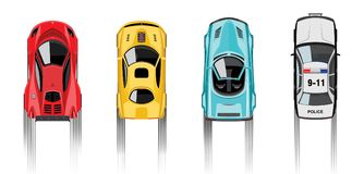 Racing game with police. Set of cool sportscars and police vehicle top view  on white background, strarts racing. Realistic style,  vector illustration Stock Images