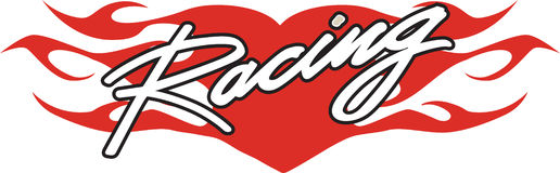Racing heart. With flames red black and white Royalty Free Stock Photos
