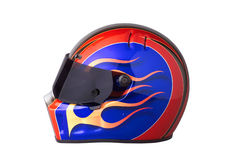 Racing helmet. Colorful racing helmet, with flames,tinted visor Royalty Free Stock Photo