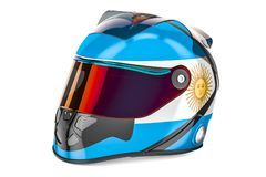 Racing helmet with flag of Argentina, 3D rendering Royalty Free Stock Images