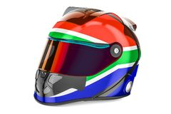 Racing helmet with flag of South Africa, 3D rendering Royalty Free Stock Image
