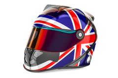 Racing helmet with flag of United Kingdom, 3D rendering Stock Images