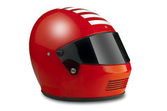 Racing helmet, isolated. Race car or motorcycle helmet in red with clipping path Royalty Free Stock Photos