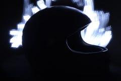 Racing helmet. Light painting technique. Long exposure Royalty Free Stock Image