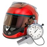 Racing helmet with whistle and stopwatch, 3D rendering. Isolated on white background royalty free illustration