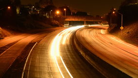 Racing highway light trails stock video footage