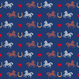 Racing horses and horseshoes seamless pattern Stock Photo