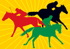 Racing horses with jockeys. 3 racing horses with jockeys,  drawings of in colorful silhouettes with background of yellow sun rays Royalty Free Stock Photos
