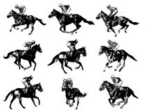 Racing horses and jockeys illustration Royalty Free Stock Photos