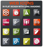 Racing icon set. Racing icons set in flat design with long shadow Stock Photos