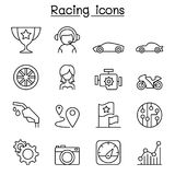 Racing icon set in thin line style. Vector illustration graphic design Royalty Free Stock Photo