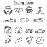 Racing icon set in thin line style. Vector illustration graphic design Stock Photos