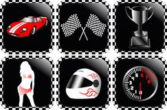 Racing icons. Detailed racing icons vector illustration royalty free illustration