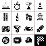 Racing Icons Black. Set with winner podium award trophy isolated vector illustration Royalty Free Stock Photography
