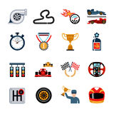 Racing Icons Set. Racing and auto sport flat icons set isolated vector illustration Royalty Free Stock Photo