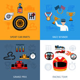 Racing Icons Set. Racing design concept set with sport and winner flat icons  vector illustration Royalty Free Stock Photo
