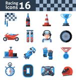 Racing Icons Set. With motorcycle trophy helmet winner medal isolated vector illustration Royalty Free Stock Image