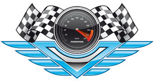Racing insignia. Vector illustration Racing insignia Checkered flags and speedometer Stock Image
