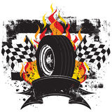 Racing Insignia. A race car tire in front of flames and a checkered flag Royalty Free Stock Image