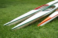 Racing Kayaks on Grass Royalty Free Stock Photo