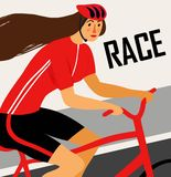 Racing lady cyclist poster Royalty Free Stock Photography